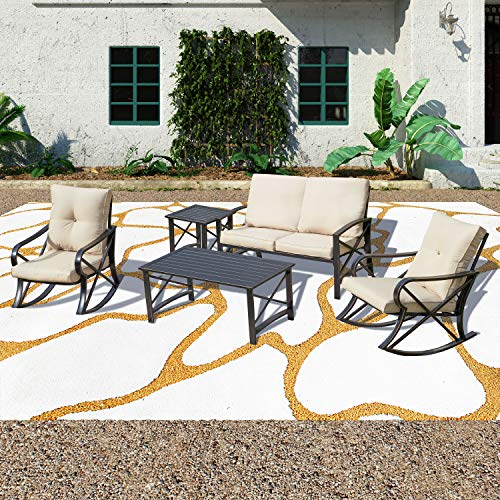 Patio Festival 5 PCS Metal Patio Furniture Conversation Set, Outdoor Patio Conversation Sectional Sets,Iron Steel Frame Loveseat Chair with Cushions, Coffee Table for Pool Backyard Lawn (5 PCS, Khaki)