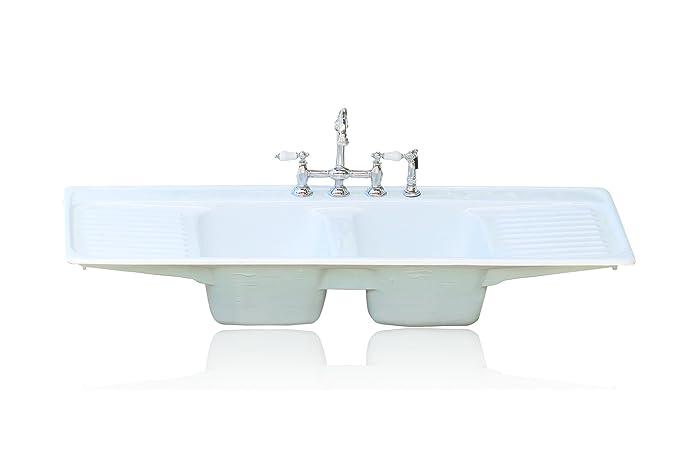 Amazon Com Large Double Basin Aqua Farm Sink Double Drainboard Drop