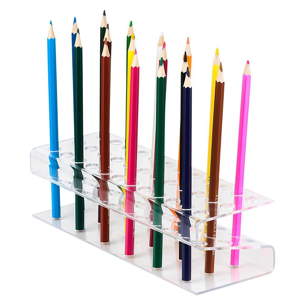Pennello Holder, BAKTOONS pennello e matita multi Bin organizer da scrivania supporto per disegno pennarelli pennelli trucco penne piccoli utensili 96 fori 9.44*3.14*2.36in / 24*8*6cm(L*W*H) Acrylic-36