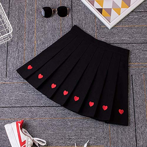 (WHXYAA Cute Strawberry Embroidery Women Skirt High Waist A-Line Pleated Skirt Sweet Girls Mini Skirt Summer Plus Size S-XXL (Color : Black, Size : XL))