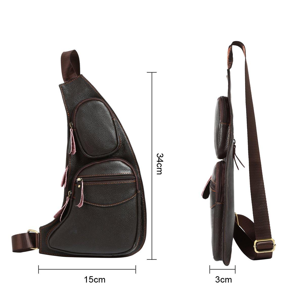 Amazon.com | Leathario Mens Leather Retro Chest Sling Crossbody Shoulder Bag Multipurpose Backpack (Black2) | Casual Daypacks