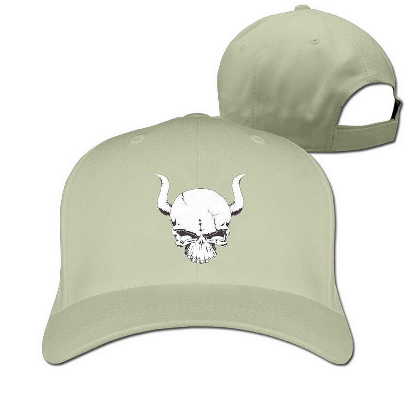 Cool Bull Skull Adjustable Baseball Caps for Men Women Natural