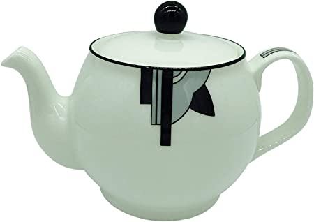 Stylish Ritzy Art Deco Fine Bone China 2 Cup Teapot Grey Amazon Co Uk Kitchen Home