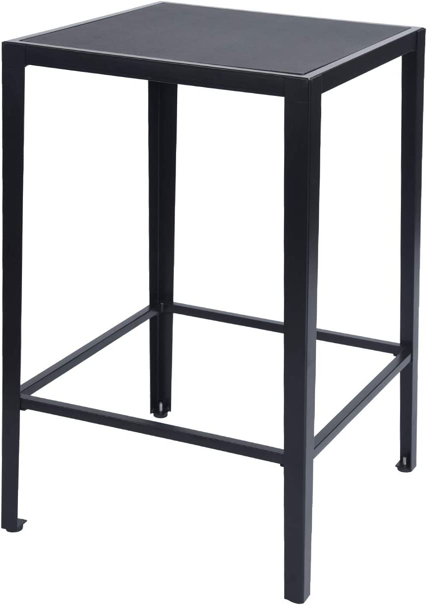 GreenForest Bar Table Modern 38.4-Inch Height Square High Top Dining Pub Table with Large Surface, Black
