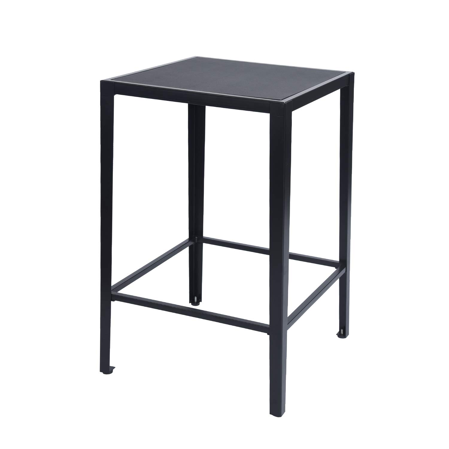 GreenForest Bar Table Modern 38.4-Inch Height Square High Top Dining Pub Table with Large Surface, Black by GreenForest