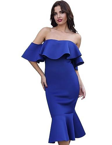 Adyce Bandage-Dress-Sexy Midi Association Partykleid Blu avvolto Il corpo ospite per il matrimonio d...