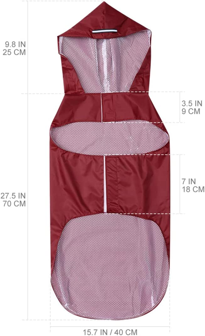 Hooded Dog Raincoat Adjustable Lightweight Reflective Waterproof Rain Jacket Easy Put on and Off Coat 5XL Red POPETPOP Dog Raincoats for Large Dogs