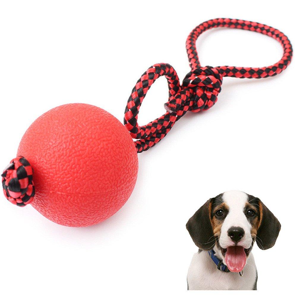 Sannysis mascotas juego, pelotas de goma para rebote de nylon para mascotas (rojo)