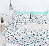 SUSYBAO 3 Pieces Duvet Cover Set 100% Natural Cotton Queen Size Colorful Rectangle Print Bedding Set 1 Duvet Cover 2 Pillowcases Hotel Quality Soft Breathable Hypoallergenic Durable with Zipper Ties