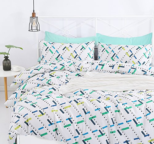 SUSYBAO 3 Pieces Duvet Cover Set 100% Natural Cotton King Size Colorful Rectangle Print Bedding Set 1 Duvet Cover 2 Pillowcases Hotel Quality Soft Breathable Durable Comfortable with Zipper Ties (Teen Vogue Duvet Covers)