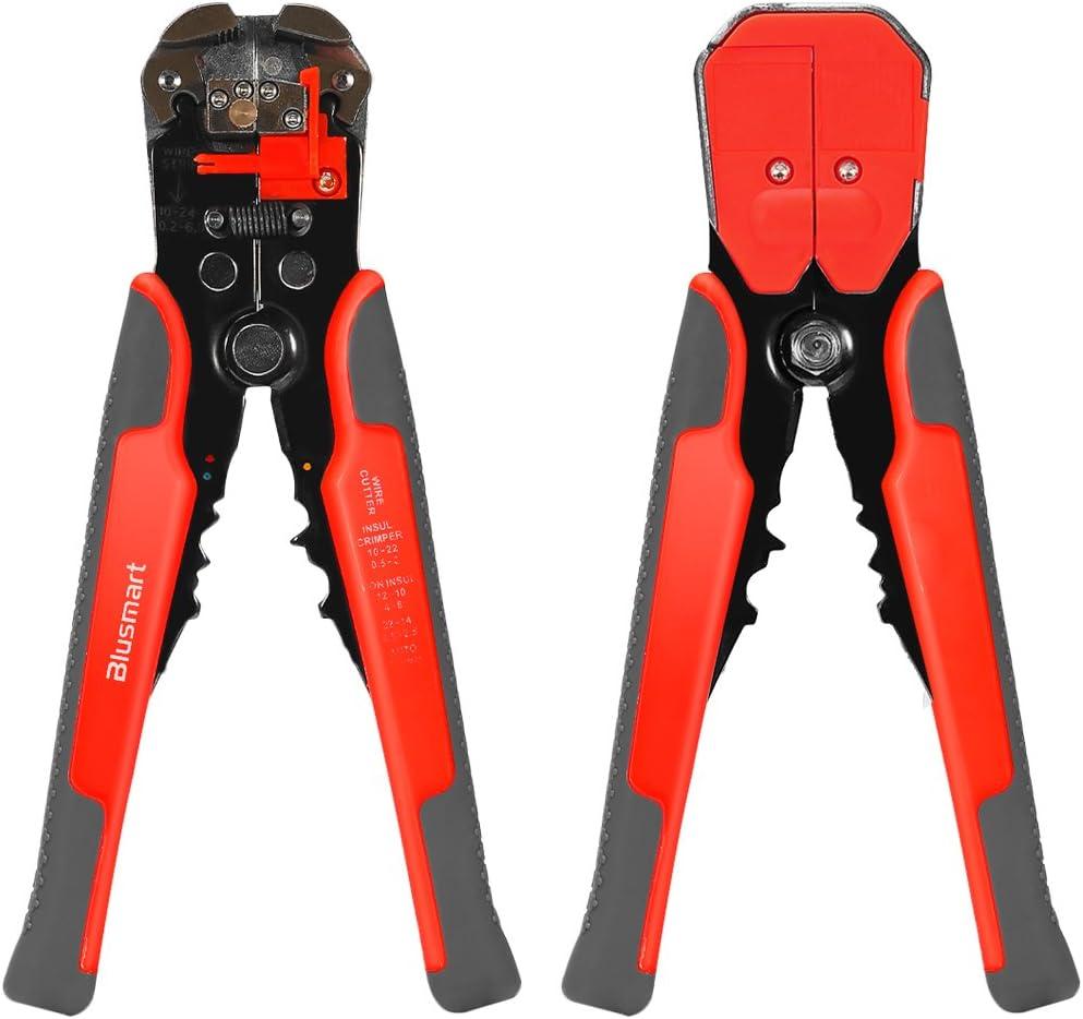 Pelacables, Blusmart Auto-Herramienta de ajuste automático de desmontaje del alambre con ProTouch apretones AWG 24-10 (0,2 ~ 6,0 mm²) - Cutter y Crimpadora (naranja con gris): Amazon.es: Bricolaje y herramientas