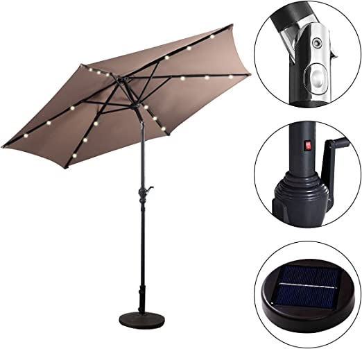 Sombrilla Solar con Luces LED de 2, 7M Parasol Jardín de Metal con Manivela de Inclinación (Marrón): Amazon.es: Jardín