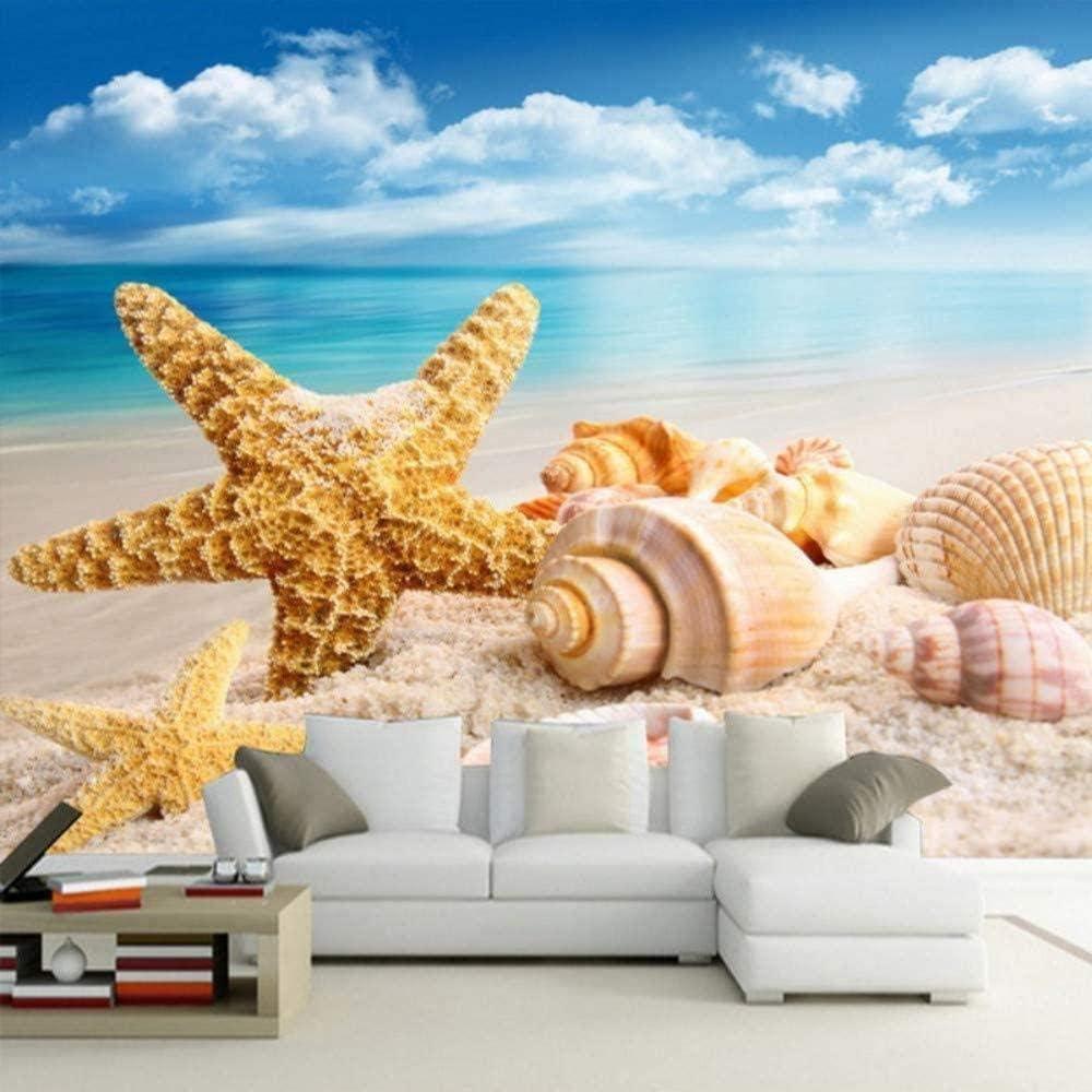 Amazon Hxcok カスタム写真の壁紙hd 3dステレオビーチヒトデ貝殻テレビ背景壁紙リビングルームホテルの寝室の壁画壁紙 260x160cm 壁紙