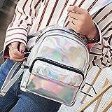 DDLBiz Women Girls Holographic Leather Backpacks Schoolbags Travel Shoulder Bag (Silver)