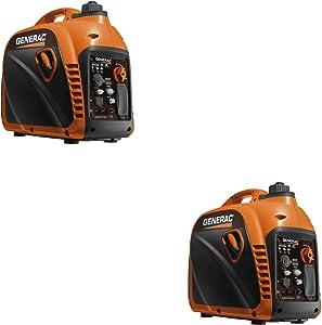 Generac 7117 2200 Watt Portable Inverter Generator CSA & CARB Compliant (2 Pack)