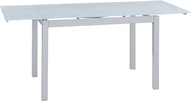 Mesa Extensible de Cristal translúcido Color Blanco y Estructura ...