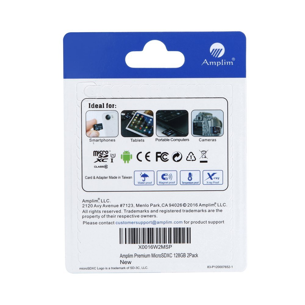 Amplim 2X 128GB Micro SD SDXC Memory Card Plus Adapter Pack (Class 10 UHS-I U1 MicroSD XC Extreme Pro) 128 GB Ultra High Speed 90MB/s 600X Read UHS-1 MicroSDXC Flash. Cell Phone Tablet Camera 128G TF by Amplim (Image #3)