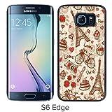 France Paris Love City Eiffel Tower Floral Pattern Black Shell Phone Case for Samsung Galaxy S6 Edge,Fashion Case