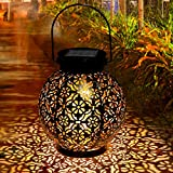 Tencoz Solar Lantern, Outdoor Waterproof Garden LED Solar Light, Decorative Metal Hanging Solar Powered Lantern for Garden, Patio, Yard and Table