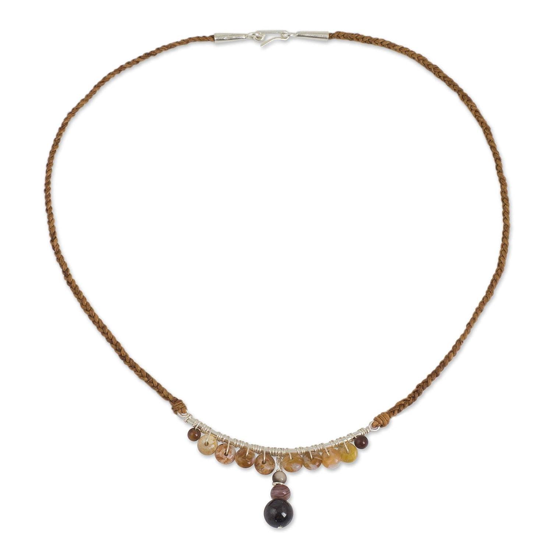 17.25 Koh Mak Island NOVICA Multi-Gem Jasper .925 Sterling Silver Leather Pendant Necklace