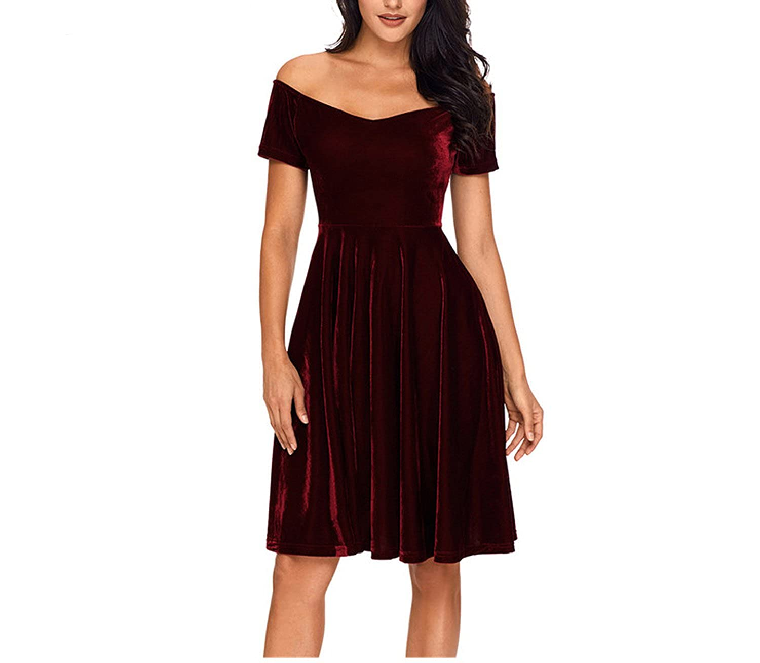 Womens Velvet Dresses Party Vestidos Off Shoulder Burgundy Pleated Midi Dress at Amazon Womens Clothing store: