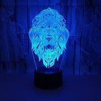 JSDGJSG 3D nachtlampje voor kinderen, leeuwenkop LED voor jongens, 3D optische illusie lamp, 16 kleuren veranderende…