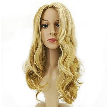 Rubio Ondulado Longitud Media Peluca Rizada Larga Pelucas De Cabello Para Mujeres Negras Barbie Brasileña Humana
