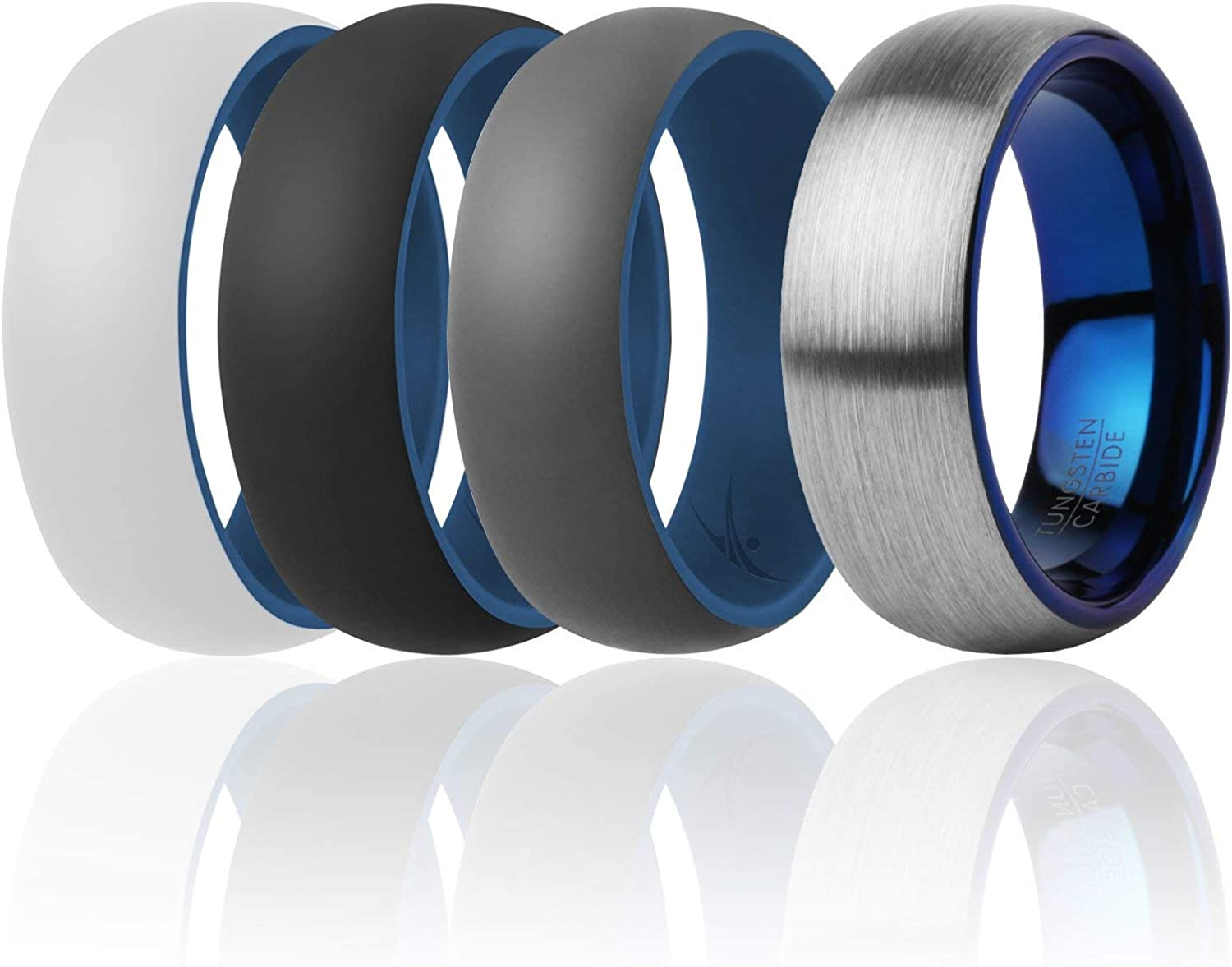 Mens Silicone Rings for Work//Sport//Hiking 4 Pack ROQ 8mm Dome Style 3 Silicone /& 1 Tungsten Carbide Wedding Rings for Men Tungsten Carbide Band for Special Events