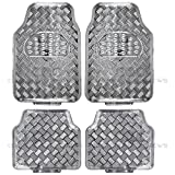 BDK MT-641-SL Universal Fit 4-Piece Set Metallic Design Car Floor Mat-Heavy Duty All Weather with Rubber Backing (Silver)