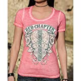 Red Chapter What Doesn't Kill Me Makes Me Stronger Strawberry Ice Ambigram Women's Scoop-Neck Short Sleeve Shirt 2X-Large Pink