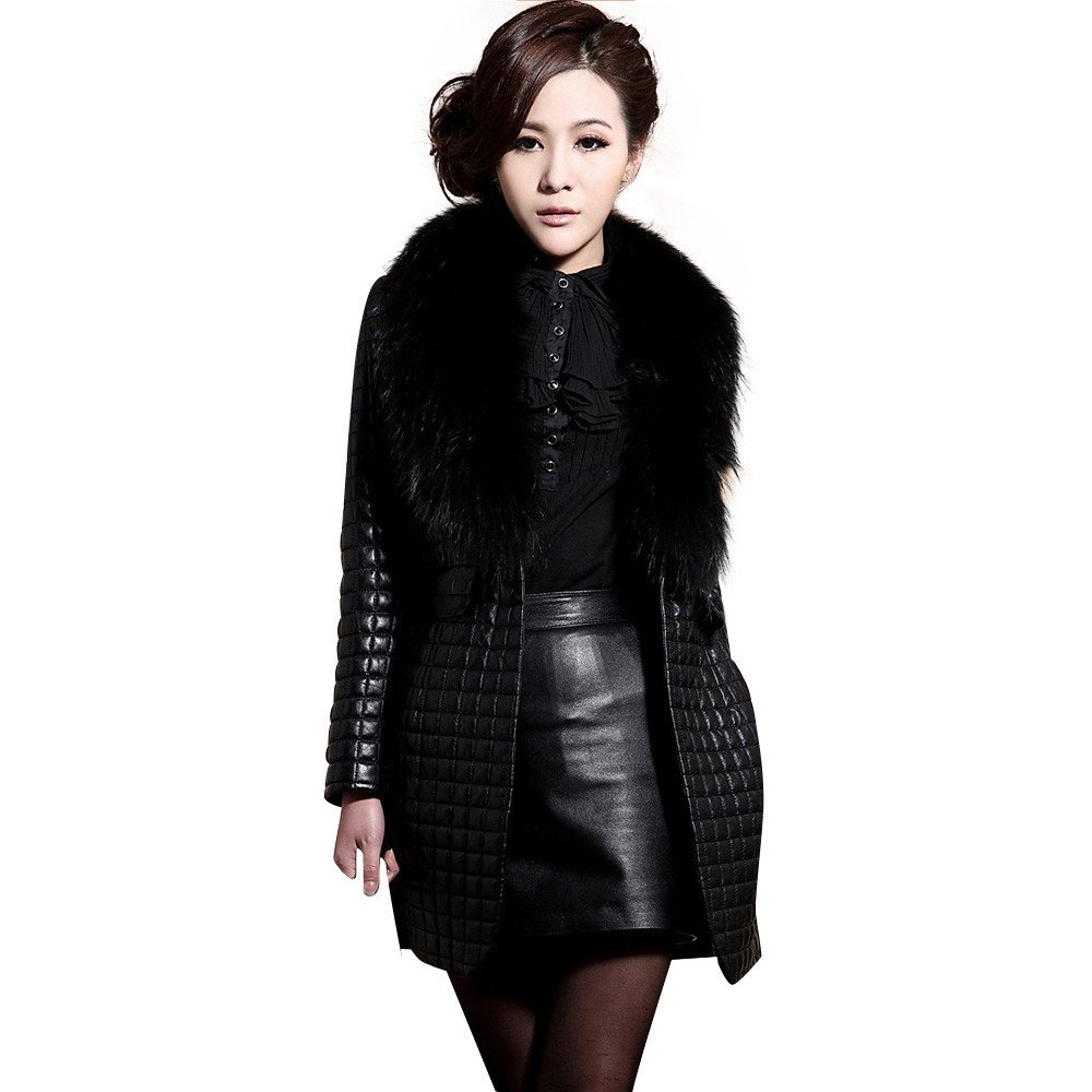 Kemilove Women Winter Faux Leather Fur Long Sleeve Coat Jacket Outerwear Long Overcoat