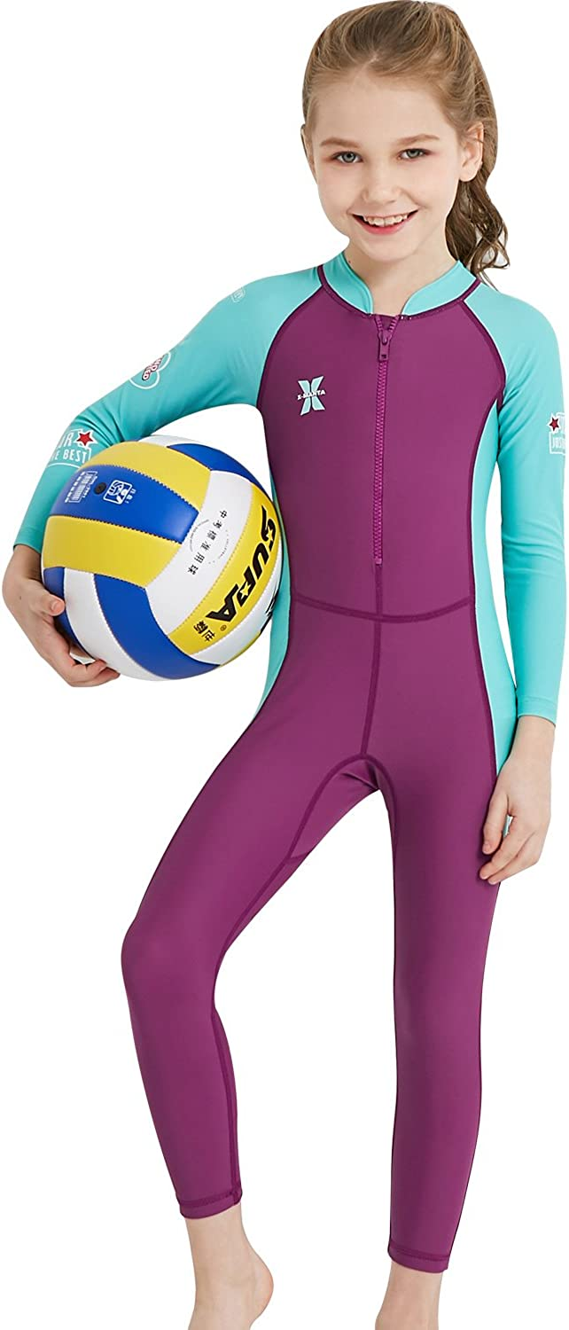 Dyung Tec Wetsuit for Kids Boys Girls One Piece Long Sleeve Swimsuit UV Protection