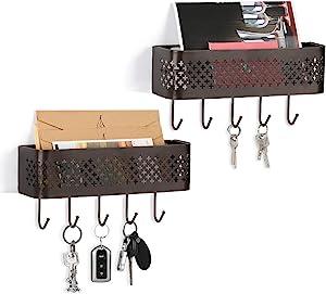 NEX Wall Mount Mail Organizer Storage Basket Set of 2 Metal Entryway Mail Sorter with 5 Hooks for Coat, Leash, Key