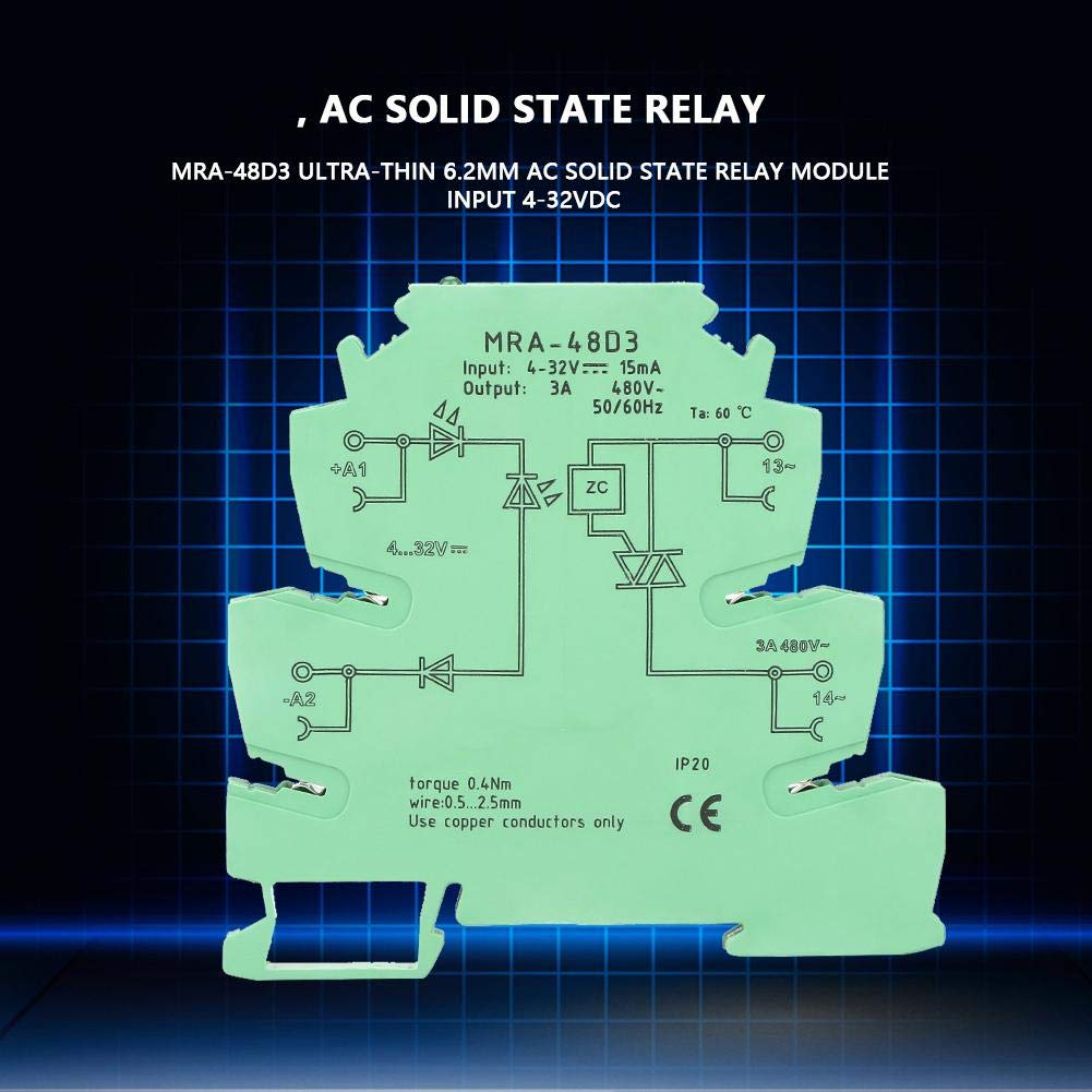 Akozon Relay Din Mra 48d3 Ultra Thin 62mm Ac Solid State Design Module Input 4 32vdc Industrial Scientific