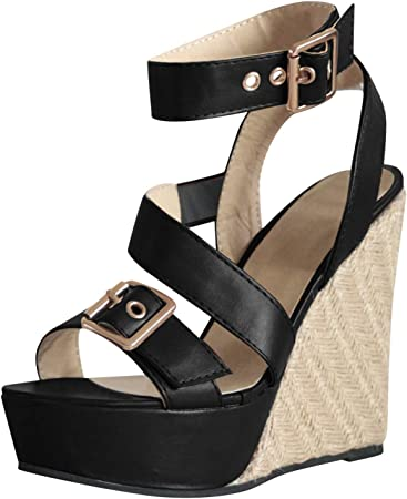 Sandales Compensees Femme Chic Boucle Ete Platform Bout