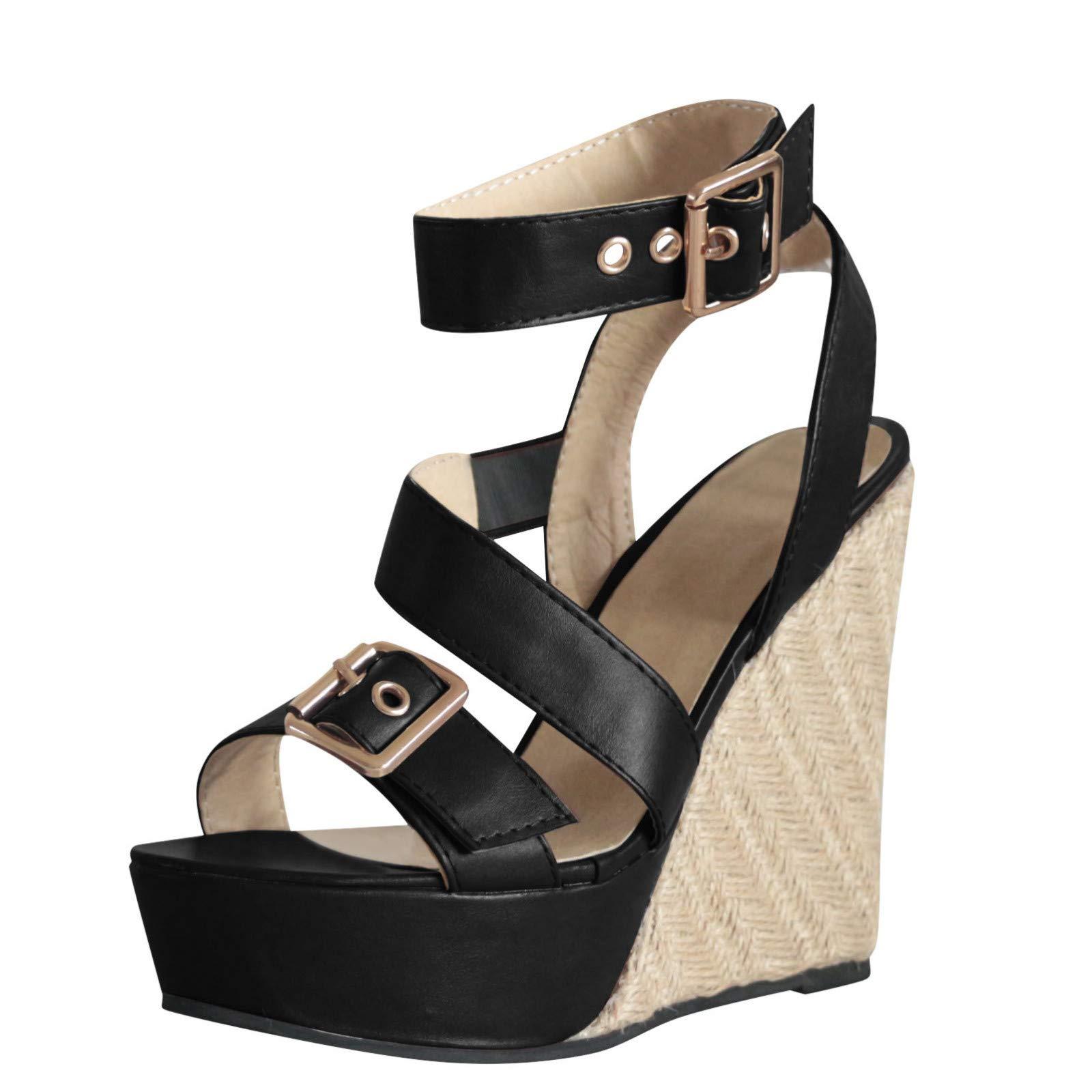 Women's Wedge Sandals Summer Buckle Strap Open Toe Platform High Heels Ankle Strap Pumps Shoes (Black -6, US:7.0)