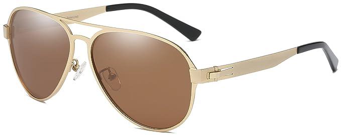 Amazon.com: DUCO Pilot Gafas de sol de estilo militar para ...