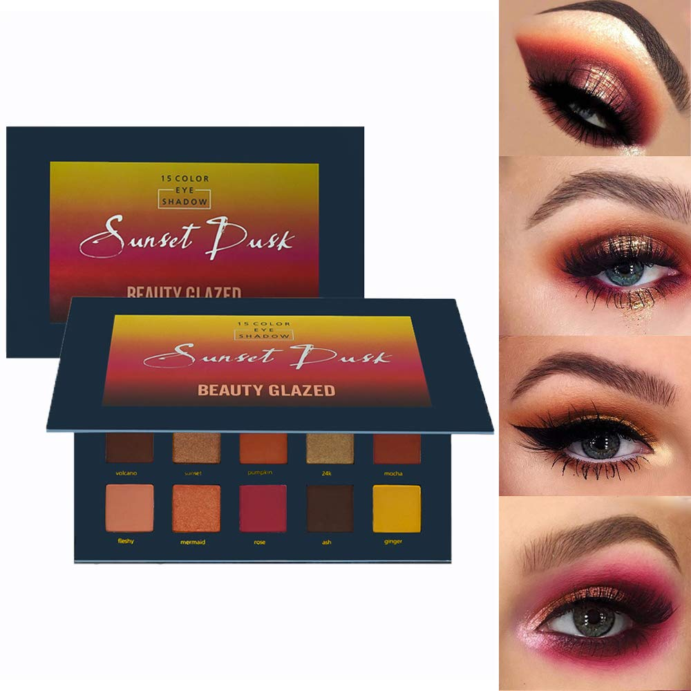 Amazon.com   Beauty Glazed 15 Colors Sunset Dust Eyeshadow Makeup Palettes  Shimmer Matte Glitter Waterproof High Pigmented Eye Shadow Warm Colors  Makeup ... 4bd9959e0893