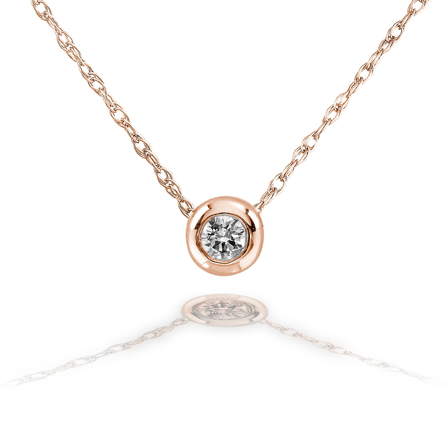 Amazon.com  Tiny Diamond Solitaire Bezel Necklace in 14k Gold (18