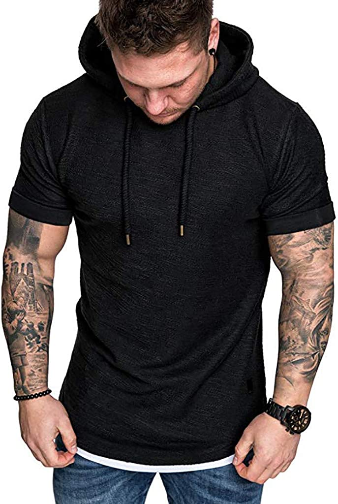 Mens Hooded T-Shirt,LuluZanm Sale Slim Fit Casual Pattern Muscle Tops Summer Large Size Short Sleeve Fashion Blouse