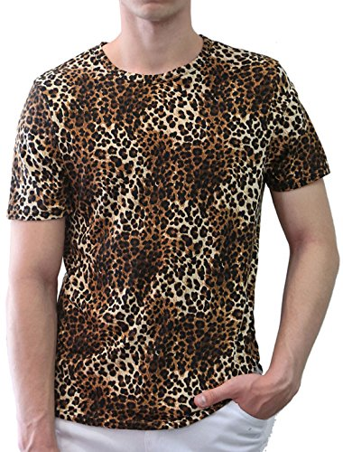 uxcell Mens Leopard Prints Round Neck Stretchy Fit Tee Shirt Top Large Brown ()