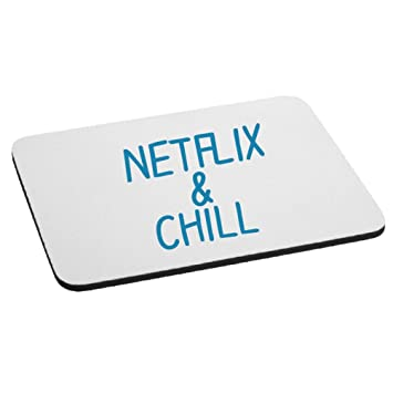 Amazon com : Funny Netflix And Chill Parody Mouse Pad - Blue