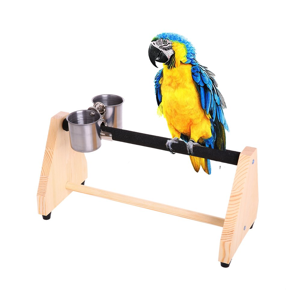 QBLEEV Parrot Play Wood Stand Bird Grinding Perch Table Platform Birdcage Stands with Feeder Dish Cup Portable Table Playstand for Small Cockatiels, Conures, Parakeets, Finch