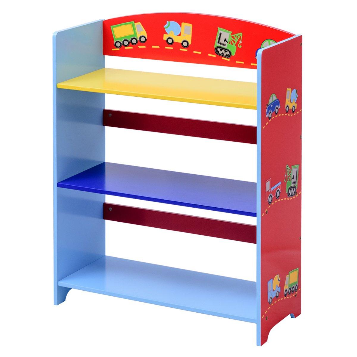 Kinder Bücherregal Kinderregal Aufbewahrungsregal Standschrank Bücherschrank Spielzeugregal mit 3 Fächern Blitzzauber 24