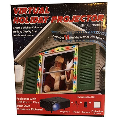 Mr. Christmas Virtual Holiday Projector, Color - 14 Holiday Movies with sound - Lifelike Holiday Display from inside your home - Easy Setup by Mr. Christmas