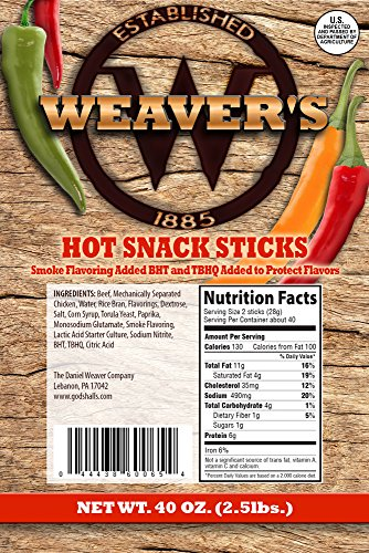"""Weaver's Hot Snack Sticks (80 hot and spicy 6.5"""" beef and chicken snack sticks per 40oz bag)"""