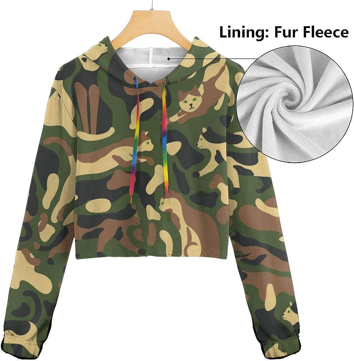 Womens Hoodie Sweater Classic Military Colors Crop Top Sweatshirt Lumbar Sweatshirt Cropped Hoodie