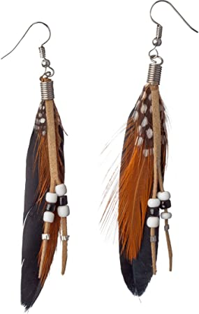 Federohrringe Indianerin Indianer Ohrringe mit Federn Hippie Ohrschmuck Kostüm