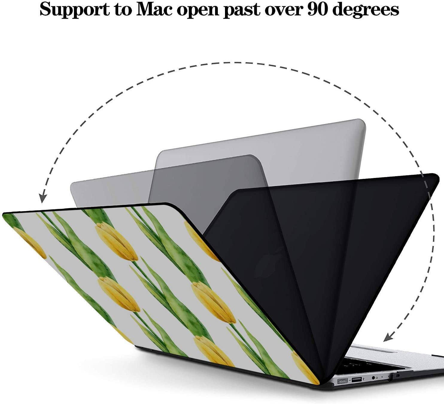 MacBook Pro Laptop Yellow Romantic Beautiful Floral Tulip Plastic Hard Shell Compatible Mac Air 11 Pro 13 15 MacBook Air Laptop Cover Protection for MacBook 2016-2019 Version