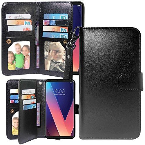 LG V30 Case, LG V30 Plus Case, Harryshell Luxury 12 Card Slots Shockproof Kickstand PU Leather Wallet Flip Protective Case Cover Wrist Strap for LG V35/V35 ThinQ/LG V30 Plus/V30S ThinQ (Black)